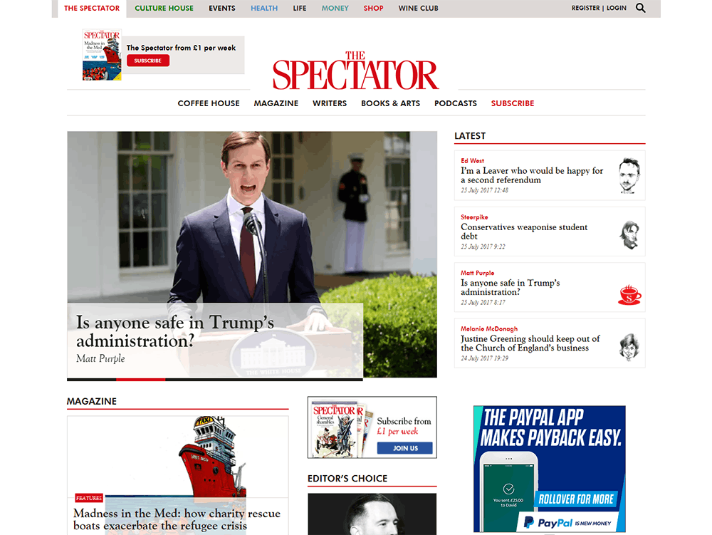 Image shows The Spectator Home page