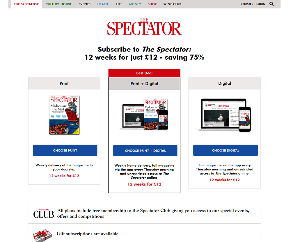 Image shows the Subscription page