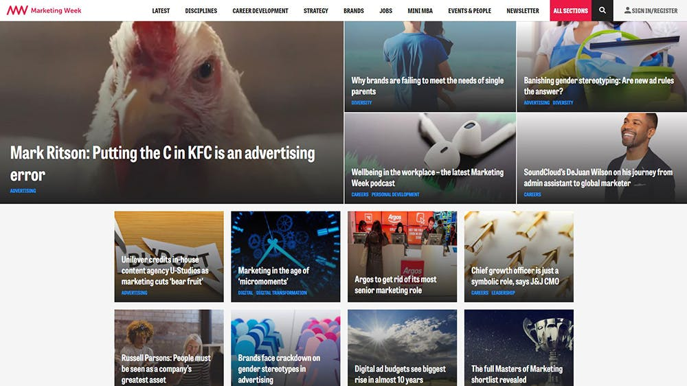 Image shows the Marketing Week Home page