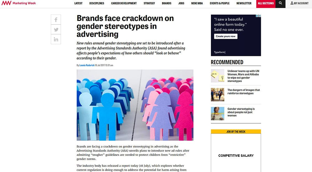 Image shows a Marketing Week article