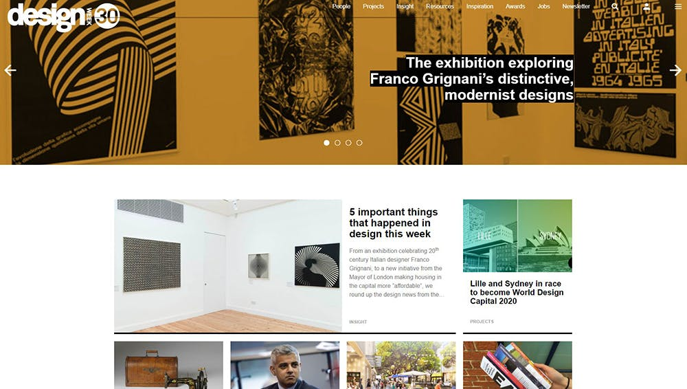 Image shows the Design Week home page