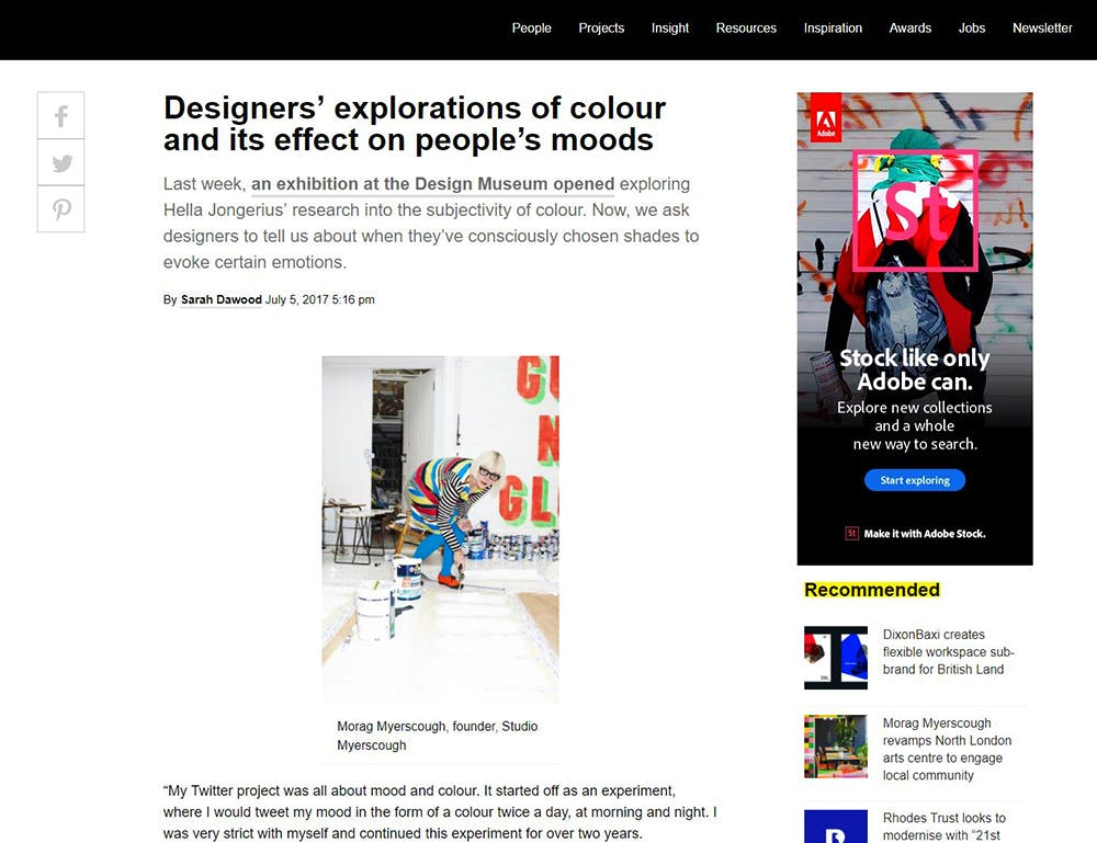 Image shows a Design Week article