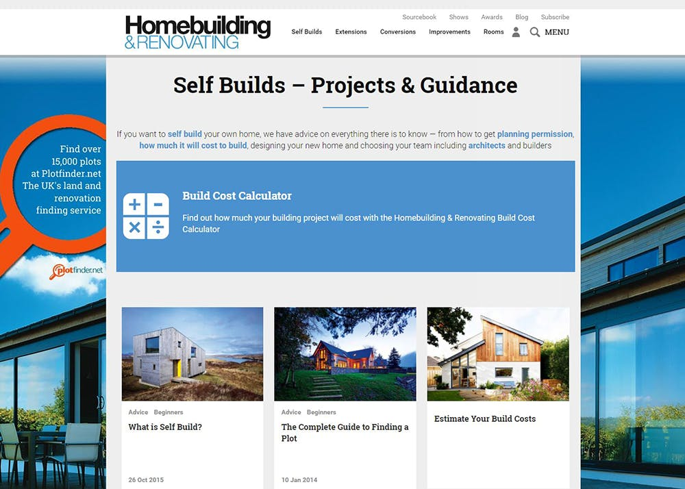 Image shows the Self Builds page