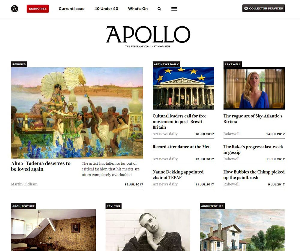 Image shows the Apollo Home Page