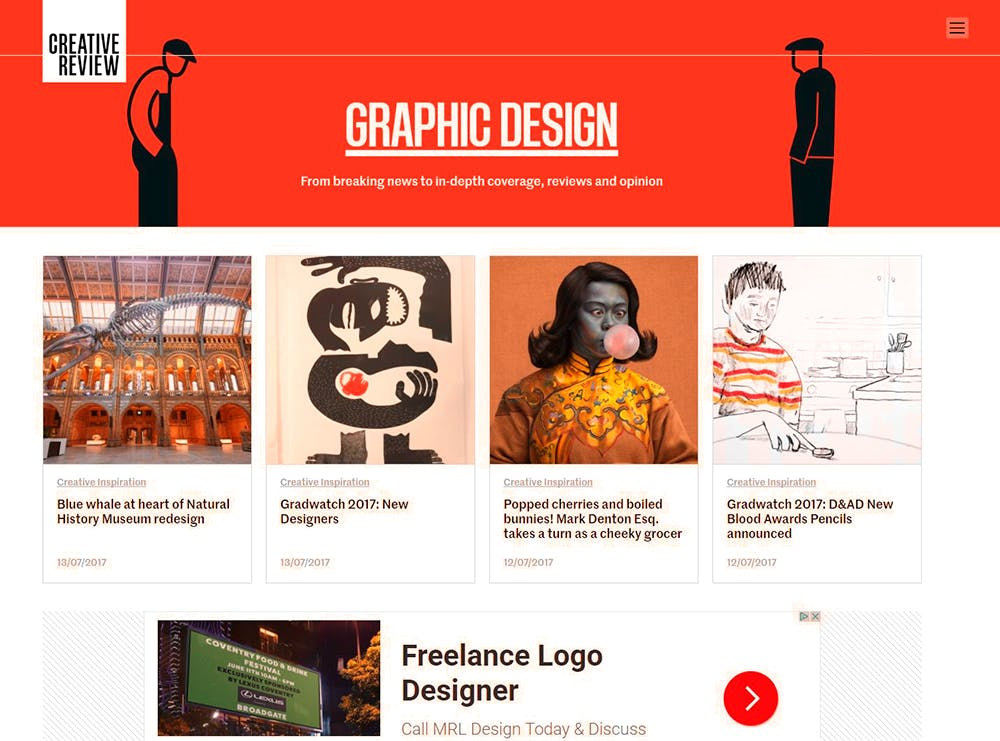 Image shows the graphic design page