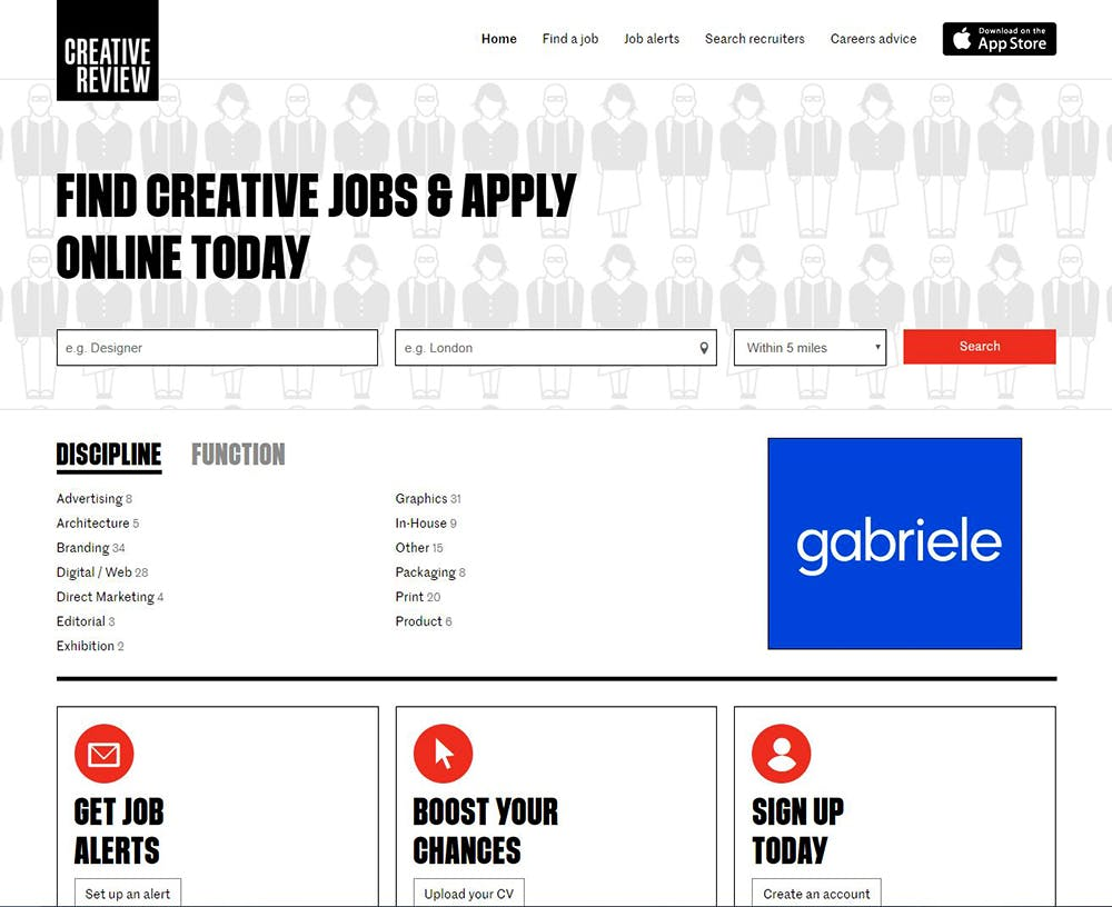 Image shows the Jobs page