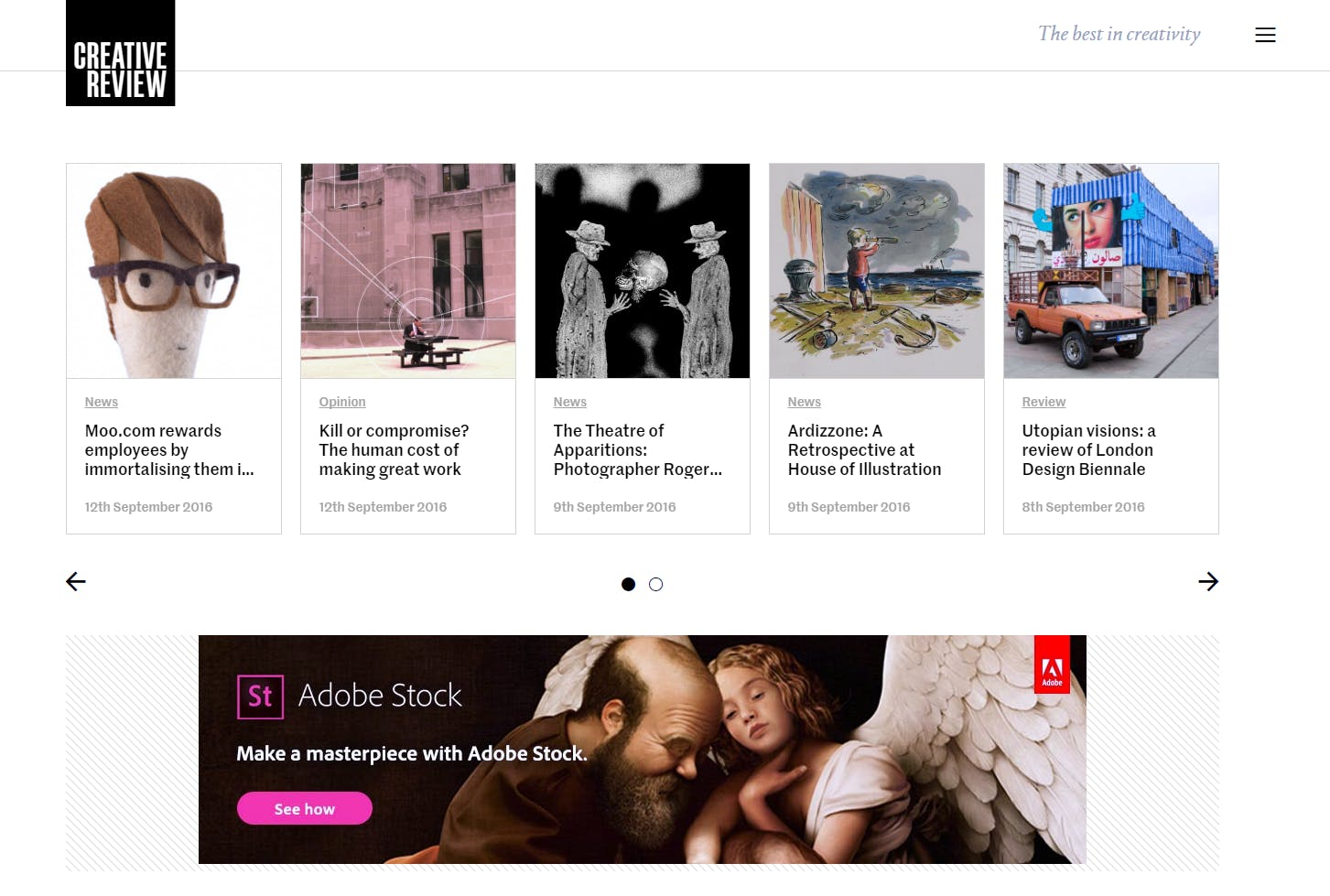 A screenshot of the home page of the Creative Review website.