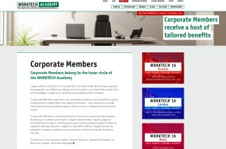 Screenshot of the corporate members page.