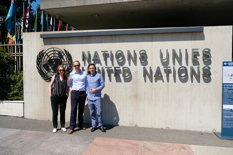 Photo of Mim, Chris and Dave outside the UN HQ in Geneva