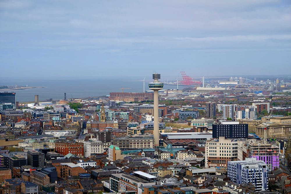 The view from the top of Liverpool Anglican cathedral, looking towards the Mersey estuary.