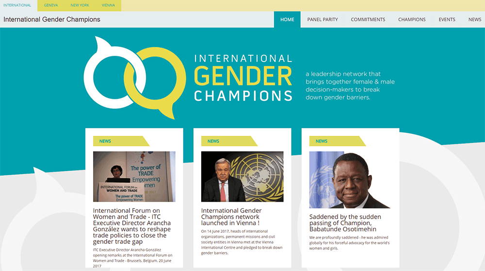The front-end of the Gender Champions home page