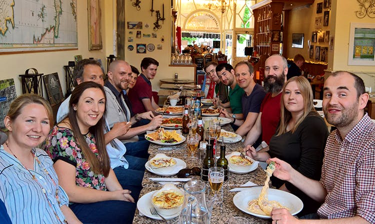 The team enjoying lunch.
