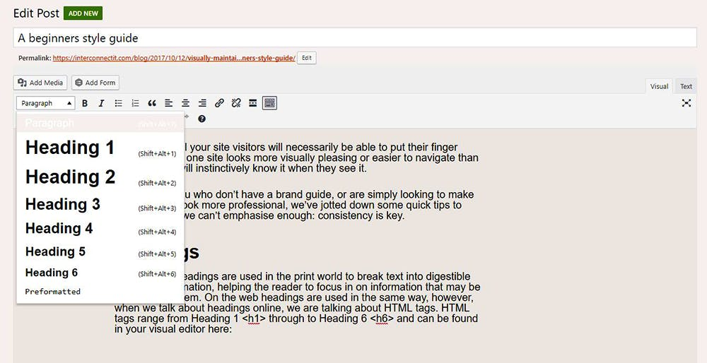 Where headings are located in WordPress
